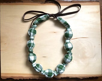 Fabric Statement Necklace (Teething/Nursing Necklace) Green Plaid (christmas)