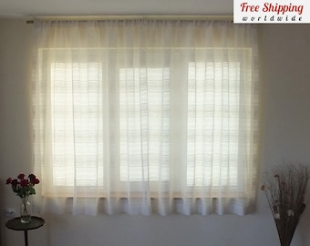 100% Linen Curtains, Short Net Curtains Made To Measure Sheer Curtains  Country Voile Curtains White Kitchen Curtains Bedroom Custom Curtains