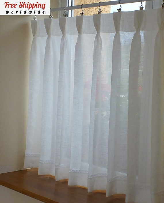 Semi Sheer Curtains For Kitchen Curtain Linen Textured: 100% Linen Kitchen Window Cafe Curtains Semi Sheer