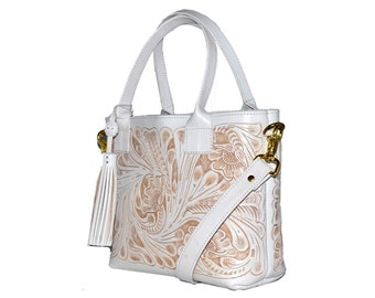 Leather Shoulder Bag Hand Tooled Leather Purse Tooled Leather Crossbody White  Leather Bag Mexican Bag Mexican Crossbody Frida Bag Mexican ec18ff709771a