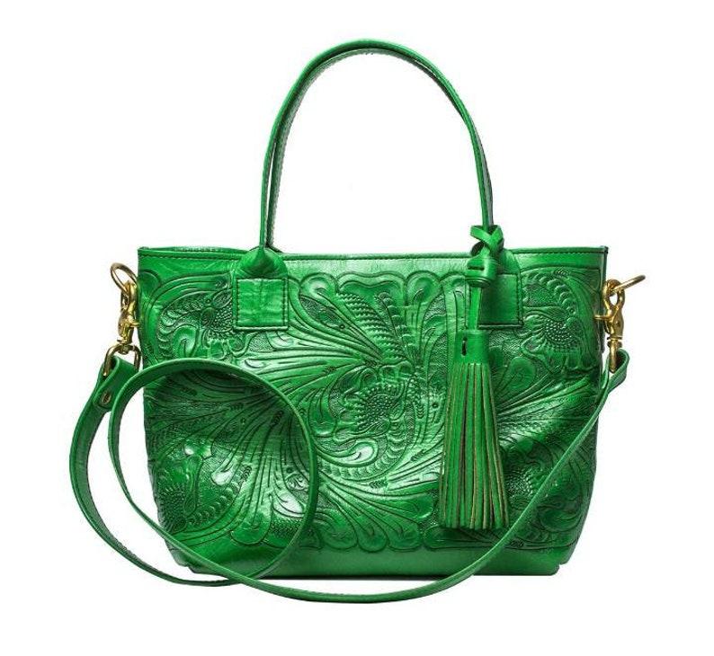 3834b25a42 Sac en cuir vert brillant vert cuir son sac à main en cuir | Etsy