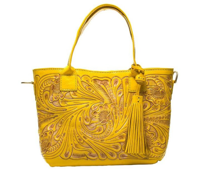 Yellow Leather Bag Hand Tooled Purse Hand Tooled Bag Mexican  22554b706f11d