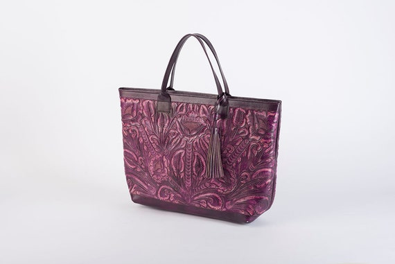 Purple Leather Bag/Tooled/Leather Travel Bag/Hand