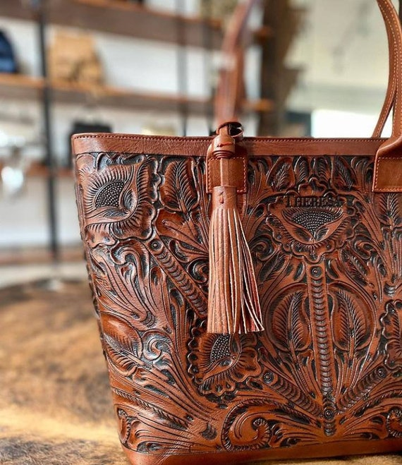 Man bag unisex Santi- Hand tooled Mexican Talabarter\u00eda Brown Cross Body Handbag