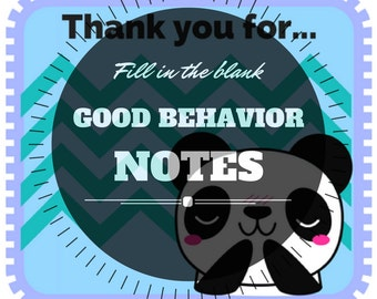 Fill in the blank CAUGHT YOU good behavior notes for teachers and parents