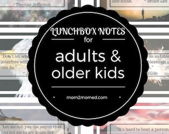 Lunchbox notes for adults and older kids, printable, 24 inspirational quotes