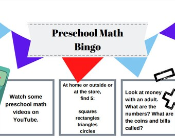 Preschool Reading Writing and Math Bingo  printable