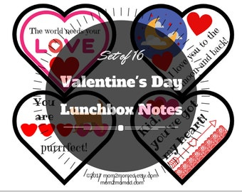 Valentine's Day Lunchbox notes, printable heart shaped set of 16 love themed lunchbox notes
