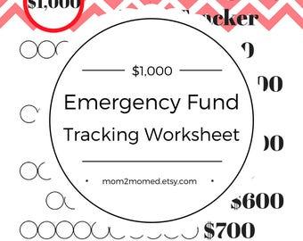 Red Starter Emergency Fund Tracker, Baby Step One Debt Freedom Tracker