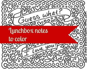 Printable lunchbox notes and coloring page