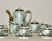 Antique Japanese Satsuma Floral Tea Pot Set Demitasse Cups Saucers Cream Sugar