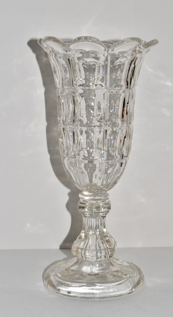 Antique Eapg Patterned Pressed Optic Glass Celery Vase Vintage Etsy