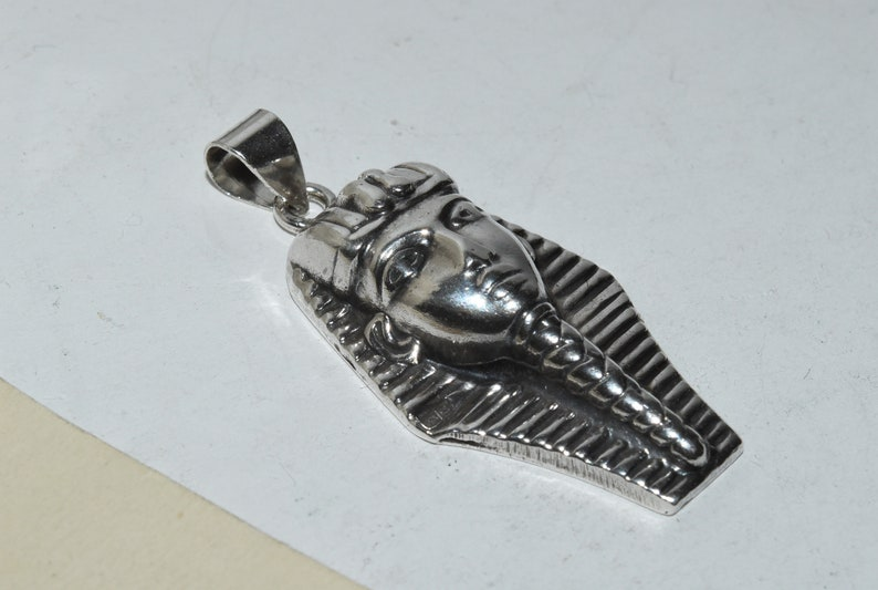 Vintage Sterling Silver Egyptian Pharaoh Head Face Pendant For Necklace