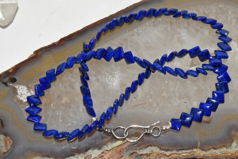 Unique Square Lapis Beaded Sterling Silver Necklace Layering Piece