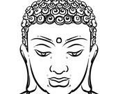 e8352c61a4cb5 Thai god face isolated on a white background. Esoteric vintage vector  illustration. buddha head. Indian, Buddhism, Buddha. (EPS, JPG)