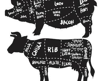 Charcoal cow butchery diagram print 80 off sale cut of meat set pork and beef cuts diagram and butchery set pork cuts diagram butcher shop eps jpg ccuart Gallery