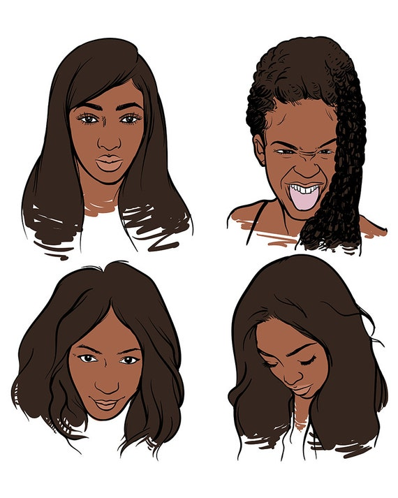 African Woman Hand Draw Vector Illustration On A White Etsy