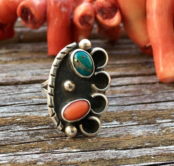 Vintage Sterling Silver Turquoise And Coral Ring Boho Rings Etsy