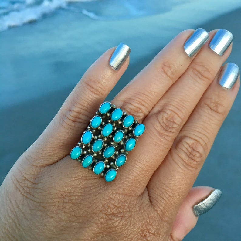 Multi Stone Rings Turquoise Vintage rings Large Blue Turquoise Stones in Sterling Silver Native American Jewelry Southwestern Rings