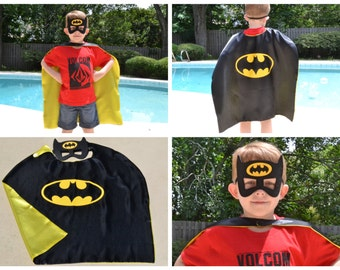 Batman Cape and Mask - Birthday Party Favors. Great Kids Superhero Costume for Child Toddler Outfit. Personalized Name available.