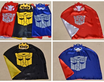 Transformers Masks & Capes ~ Superhero Costume ~ Great for Boy Kids Child Toddler Birthday Party Outfit. Personalized Name Available