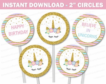 Unicorn Cupcake Toppers Party Birthday Favors Decorations Supplies 2 Circles