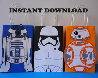 Star Wars Favor Bags R2D2 BB8 Stormtrooper Birthday Theme Party Favors Goodie Goody Loot Treat Candy