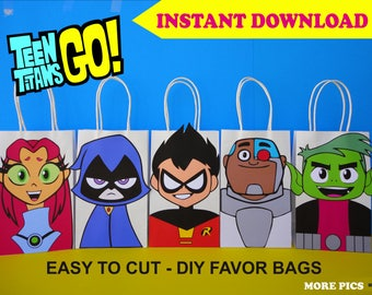 Teen Titans Go Party FAVOR BAGS Birthday Favors DIY Goody Goodie Loot Treat Candy Gift Bags Printable Decoration