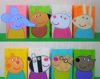 PRINTABLE Peppa Pig Friends Favor Bags Birthday Party Favors Goodie Goody Loot Treat Candy Gift Bag Fiesta Cerdita