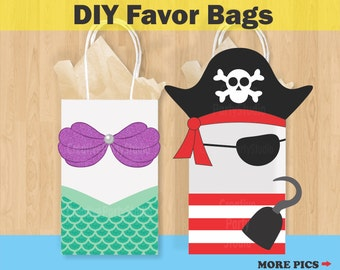 Mermaid Favor Bags Pirate Birthday Party Favors Goody Treat Candy Gift Invitations