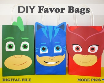 0e010d0b30 PJ Masks FAVOR BAGS  pj masks birthday  pj masks party bags  pj masks party  favors  goody  goodie  candy  treat  gift  bags  decorations