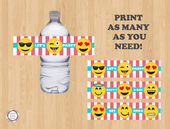 graphic about Printable Emoji Stickers called Printable \u003e\u003e Emoji Drinking water Bottle Labels/ Label/ Stickers/ Sticker/ Emojis Consume Wrapper/ Occasion Favors/ Decoration/ Do-it-yourself/ Fiesta