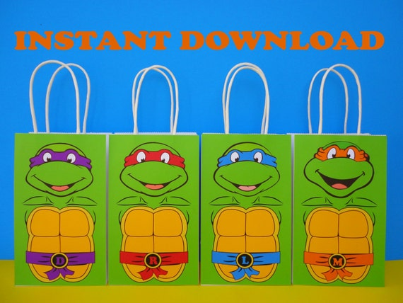 picture relating to Printable Ninja Turtles named PRINTABLE--\u003e Ninja Turtles TMNT Birthday Celebration Prefer Luggage/ Products/ Favors/ Goodie/ Goody/ Loot/ Handle/ Sweet/ Reward/ luggage/ bag/ Decoration