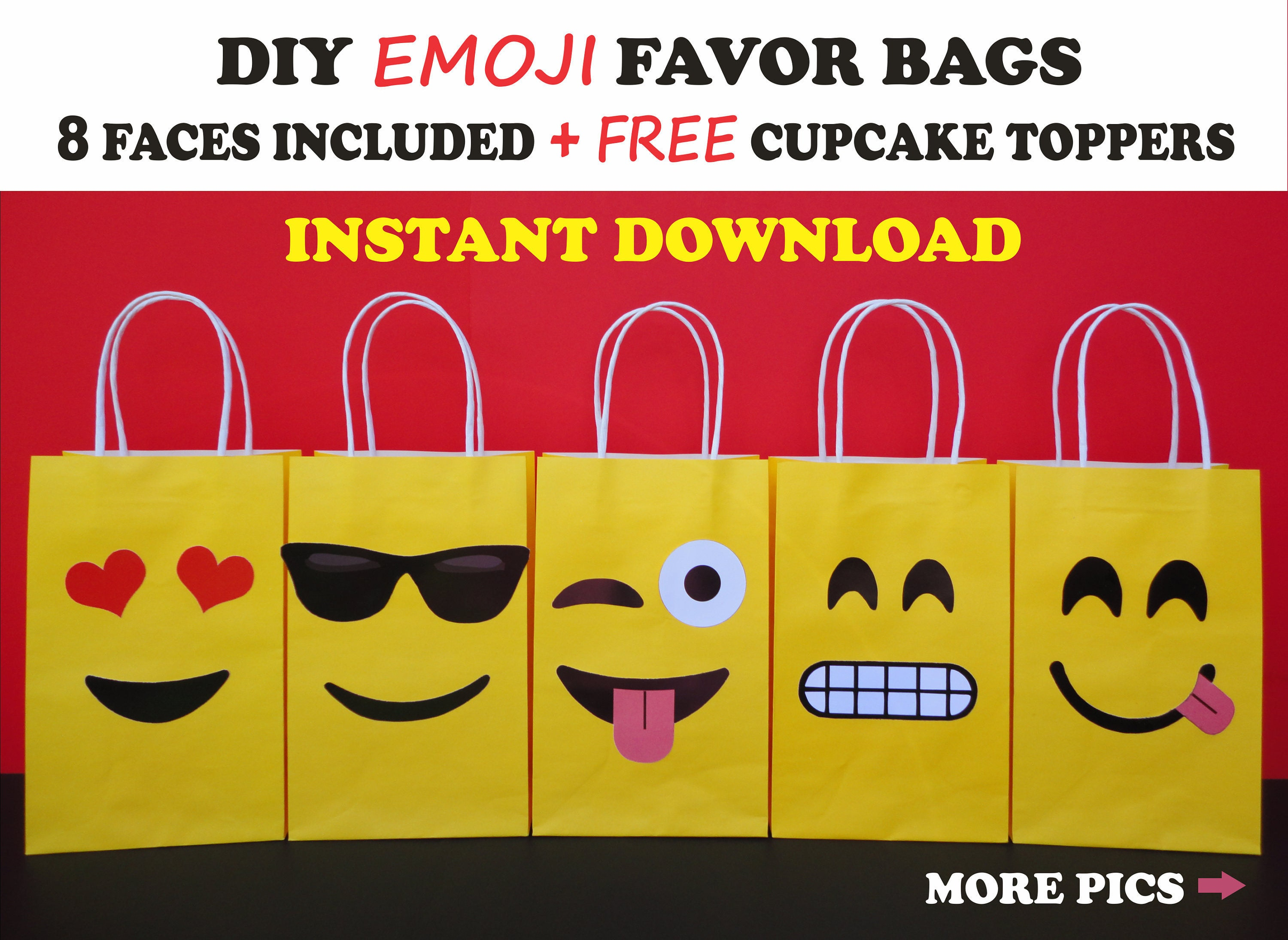 Emoji Favor Bags/ Emoji Party Bags/ Emoji Party Favors/ Emoji Party  Supplies/ Goodie/ Candy/ Treat/ Loot/ Gift/ Boxes/ Bags/ Decorations