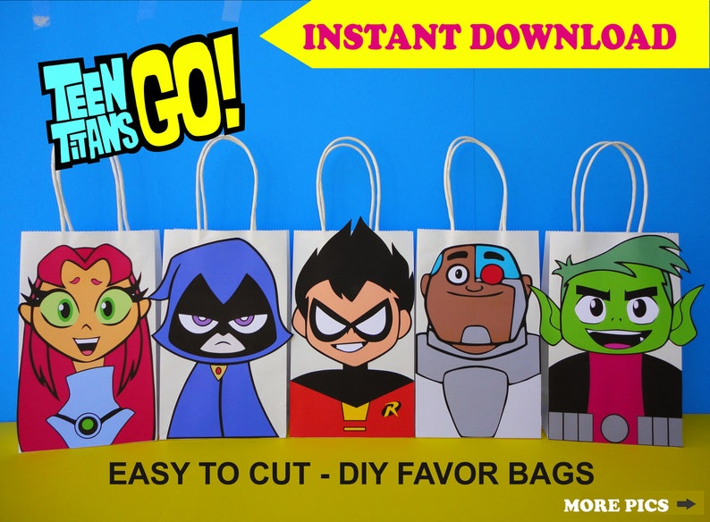 f32f82717c Teen Titans Go Party FAVOR BAGS  Teen Titans Birthday Party