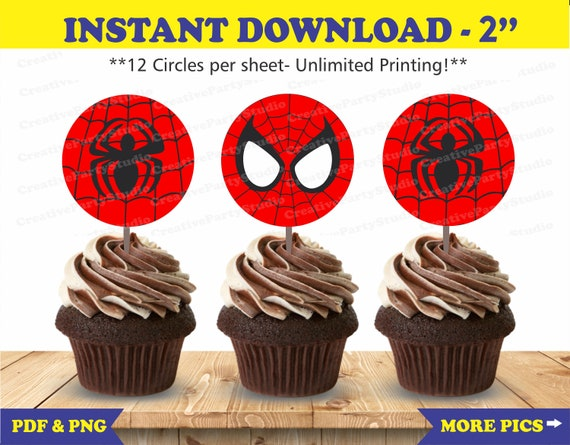 photo regarding Free Printable Cupcake Wrappers and Toppers With Spiderman called Spiderman Cupcake Toppers/ Spiderman Birthday/ Spiderman