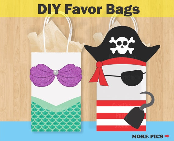 mermaid favor bags pirate favor bags mermaid pirate etsy
