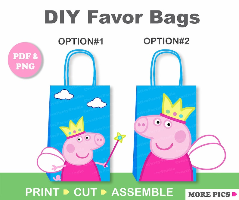 Peppa Pig Princess Party Favor Bag Peppa Birthday Party Favors Goodie Goody Loot Treat Candy Bags Diy Peppa Pig Party Decorations