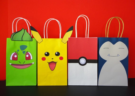 Pokemon Favor Bags Party Birthday