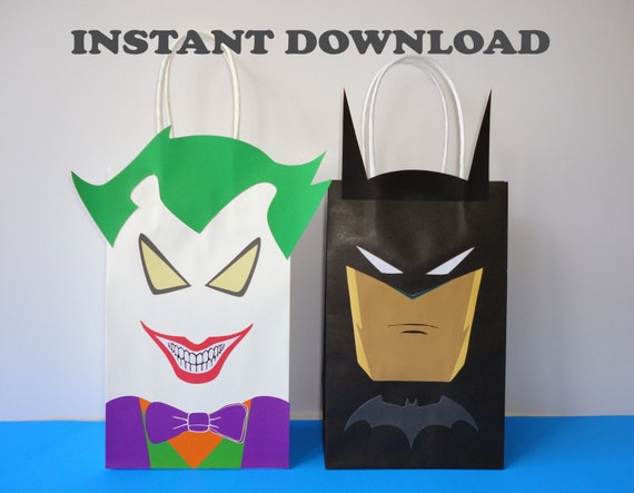 PRINTABLE Batman Joker Favor Bags Birthday Party Favors