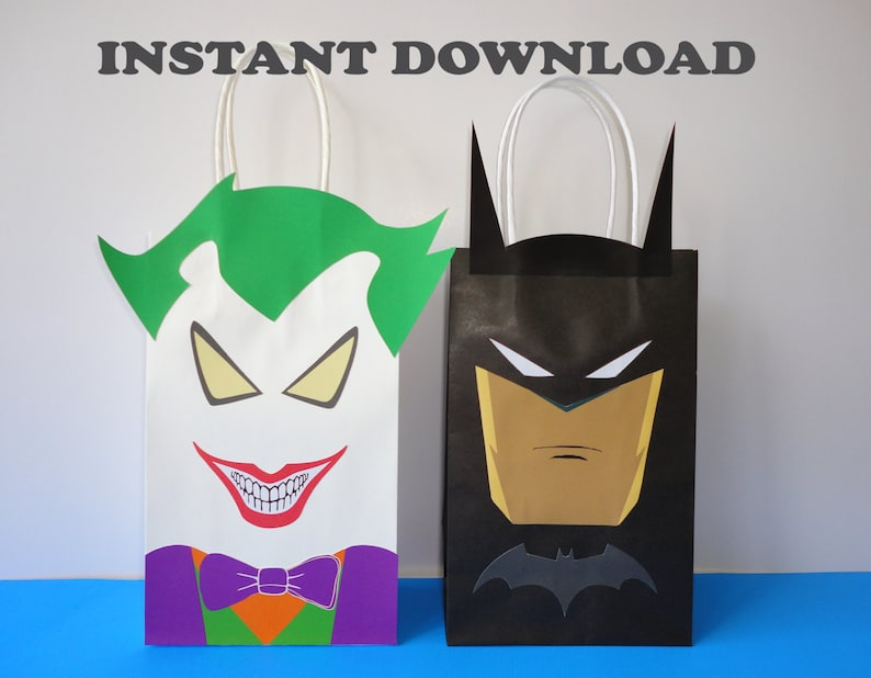 PRINTABLE Batman Joker Favor Bags Birthday Party Favors Goodie Goody Loot Candy Treat Gift Bag Decoration Fiesta