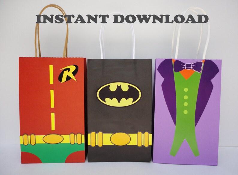 Printable Batman Robin Joker Favor Bags Birthday
