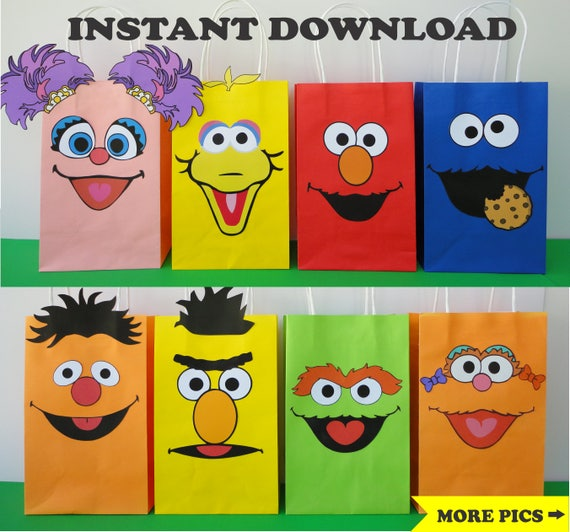 Diy Sesame Street Favor Bags Printable Character Faces