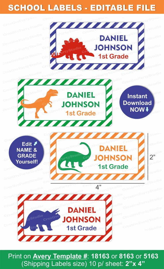 photograph about Printable Name Labels referred to as Dinosaur College or university Labels/ Dinosaur Labels/ College or university Standing Labels