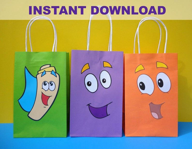 image about Printable Backpacks identified as PRINTABLE--\u003e Dora the explorer Shift Diego Backpack Birthday Occasion Prefer Baggage/Bag/ Favors/ Goodie/ Goody/ Loot/ Sweet Bag/ Baggage/ Fiesta/ Do it yourself