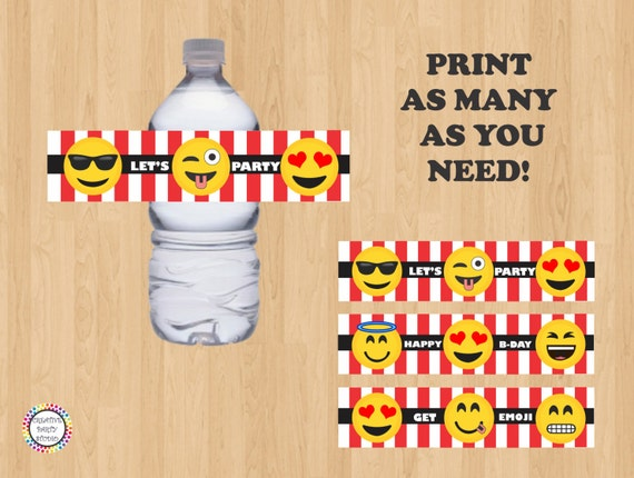 image about Printable Emoji Stickers named PRINTABLE - Emoji H2o Bottle Labels/ Label/ Stickers