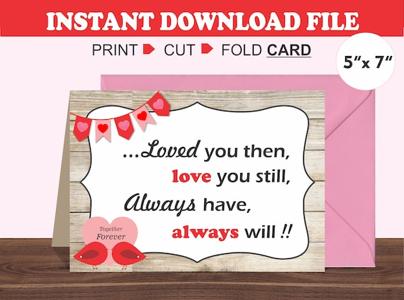 photograph relating to Printable Valentine Cards for Husband titled Printable Anniversary Card/ Intimate Card/ Spouse
