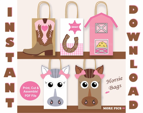 Girl Horse Favor Bags Horse Birthday Party Supplies Horse Themed