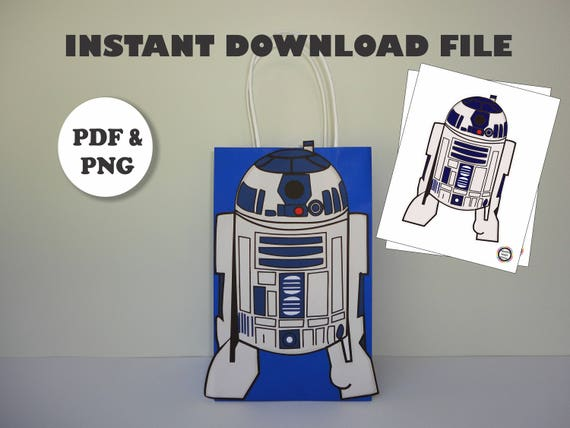 Printable Star Wars R2d2 Template For Goodie Bags Star Etsy
