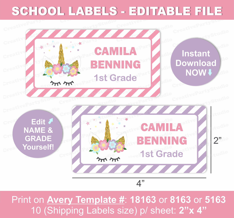 Unicorn Name Labels/ Unicorn School Labels/ Printable school | Etsy